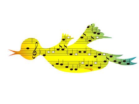 フォーマット: フライング色鳴き鳥、音楽のテーマ、ベクトルの形式  イラスト・ベクター素材