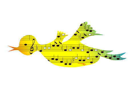 Flying colored songbird, music theme,vector format
