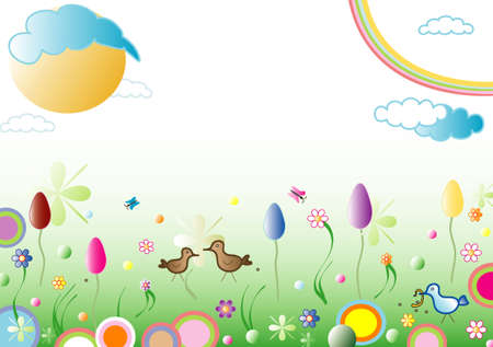 Easter spring background, space for text, vector Illustration