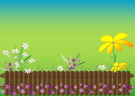 flowerbed: Spring garden theme Illustration