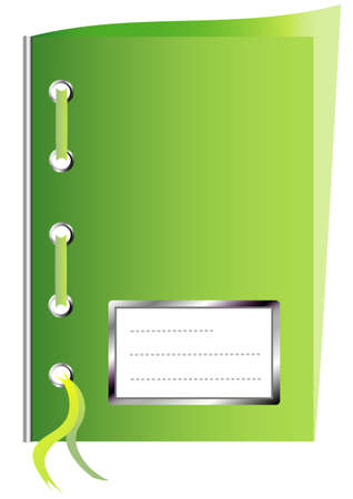 workbook: Green paper workbook with space for text Illustration