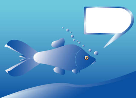 Blue fish with bubble frame for text Vector