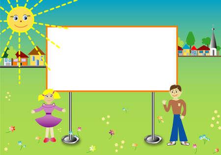 escuela infantil: Los niños con vallas, espacios en blanco para el texto Vectores