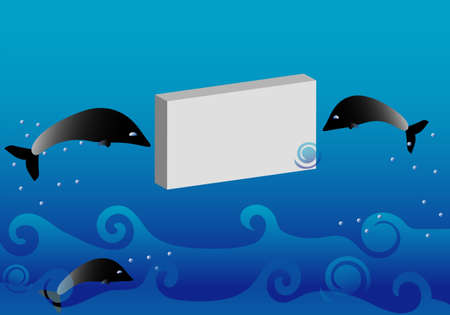 Illustration with dolphins and card Stock Vector - 13691100