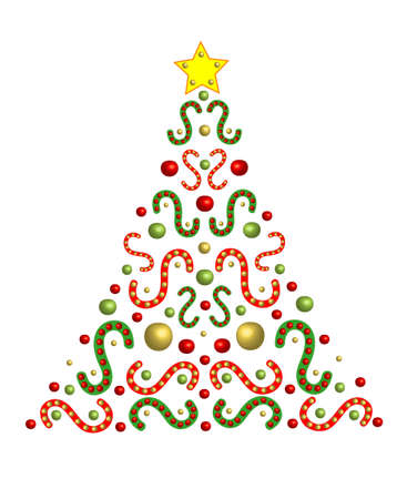 A festively decorated fir tree with space for text photo