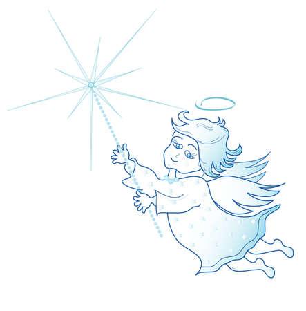 clothed: Poco angelo con Sparkler di Natale, vettore