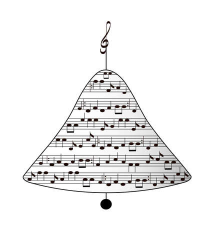 sings: Musical holiday christmas bell, isolated,vector