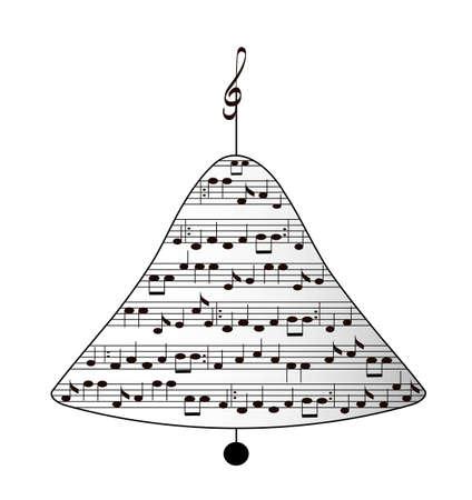 white christmas: Muzikale vakantie kerstmis klok, geïsoleerde, vector