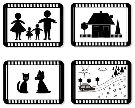 Film frames for the family album  Illustration