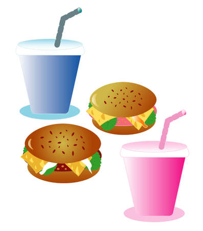 Two hamburgers with beverages Vector