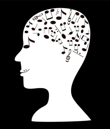 Illustration of human head silhouette with notes  Vector