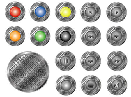 Round perforated buttons, vector Vector