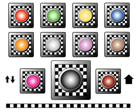 Buttons with checkerboard motif  for web, vector Vector