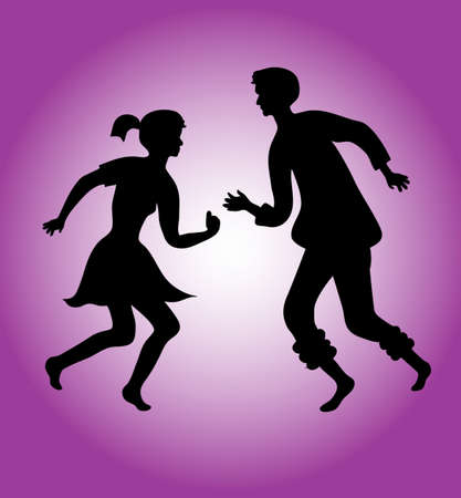 Silhouettes of a dancing couple  Vector