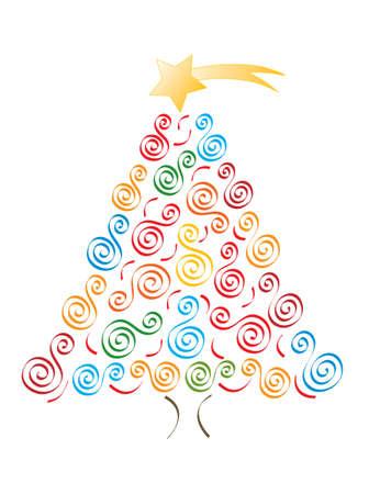 Jolly merry christmas tree, vector