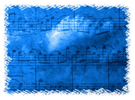 Dramatic blue music background with notation and cloud