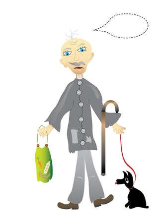 disadvantaged: Underprivileged senior, object white isolated Illustration