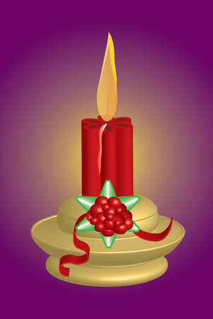 candelabrum: Christmas candlestick with shining candle, vector