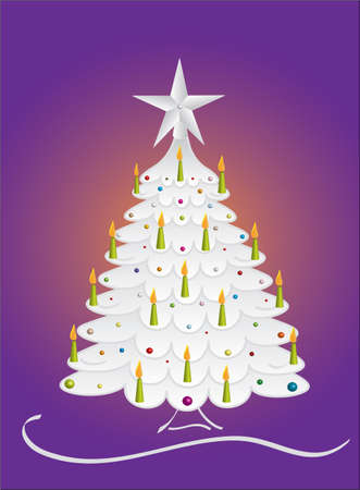 lit candles: Silver decorated Christmas spruce tree and candles, vector Illustration