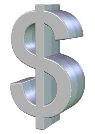 signo de pesos: Símbolo del dólar 3d superficie brillante y aislada Foto de archivo