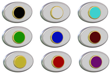 The shapes of colorful buttons on a white background photo