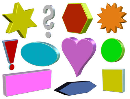 The set of colored geometric shapes 3D photo