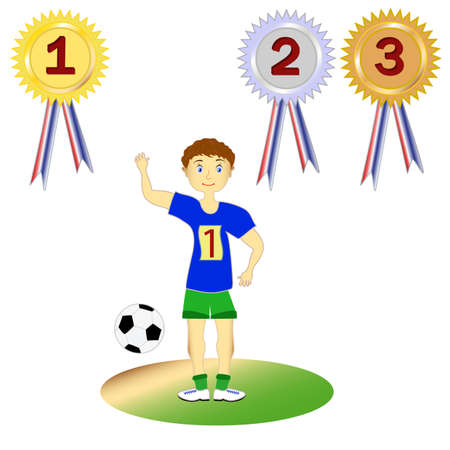 Set soccer player, athlete and medals, vector Vector