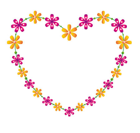 adoring: Floral heart, place for text, vector