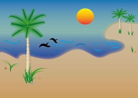 dorado: Sea beach, vector