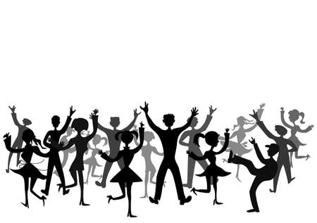 sexy teenage girl: Dance audience, place for text, vector Illustration