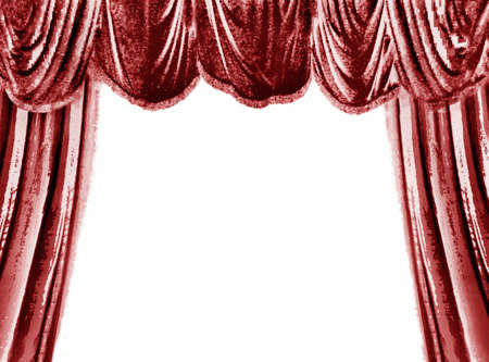 red theater curtain: Red theater curtain, white place for your text