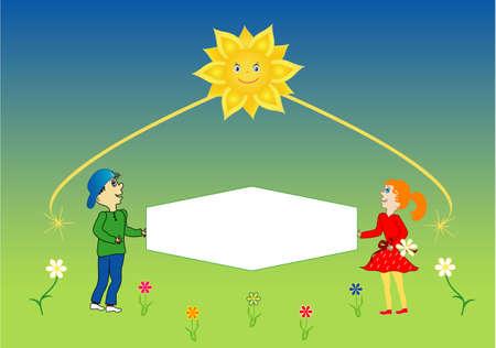 childrens day: International Childrens Day,children with poster, vector Illustration