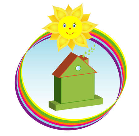environmentally: Environmentally friendly green house in sunny rainbow