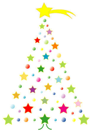 comet: Childrens vector christmas tree with yellow comet Illustration