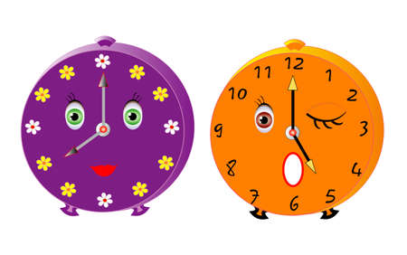 sprightly: Vector illustration of two isolated cute alarms Illustration