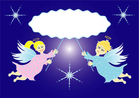 Two little angels with frame vector format