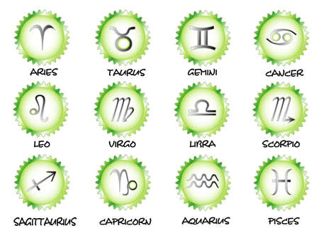 Set zodiac symbols with names, objects white isolated Vektorové ilustrace