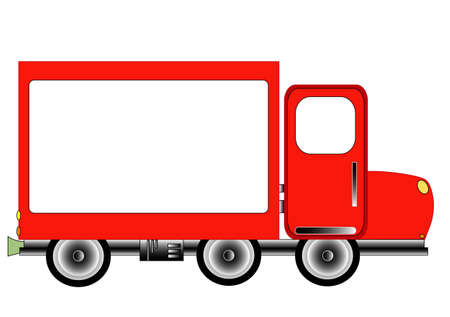 camion: Red Advertising Delivery, vector Illustration