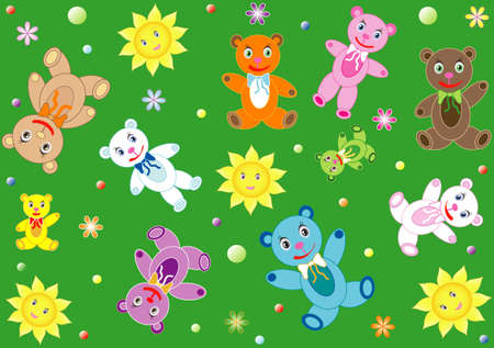 osos de peluche: Childish background with teddy bears, vector