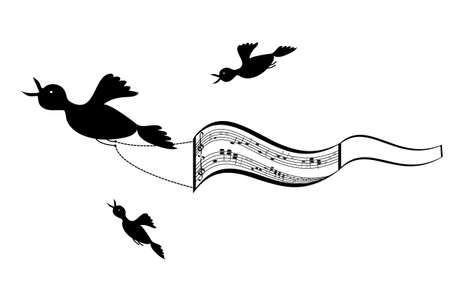 ledger: Flying birds with sheet music background, vector