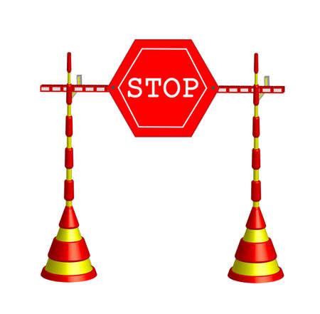 inhibition: Symbol object Roadblock stop Stock Photo