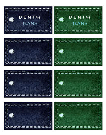leather goods: Page illustration of labels to print objects isolated Stock Photo
