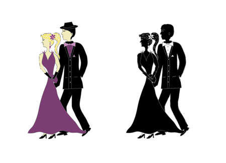 frock coat: Vector illustration of cartoons pairs for festive event. Illustration