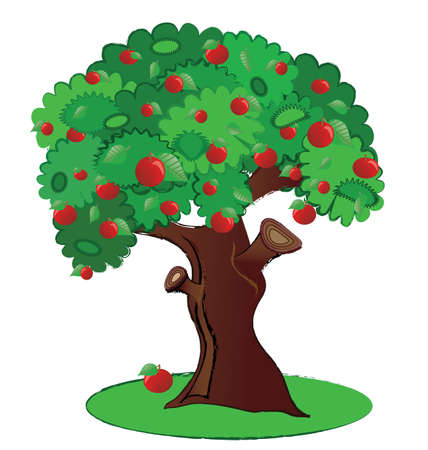 Summer fruit tree aplle isolated in vector illustration
