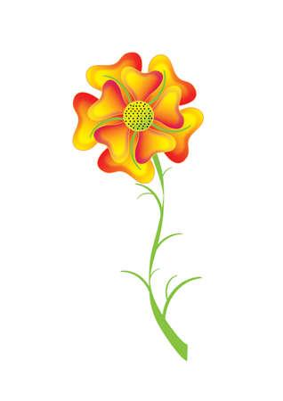 abloom: Flower yellow-orange pansy, vector
