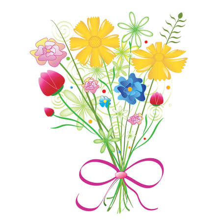 abloom: Bouquet of colorful flowers in vector format. Illustration