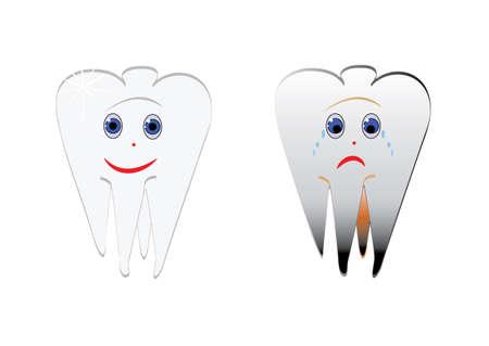 Cartoon smiles funny and sad teeth, Vector.