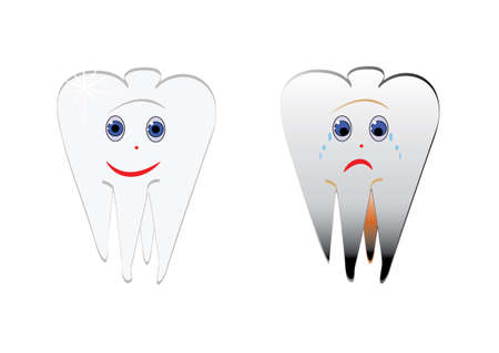 Cartoon smiles funny and sad teeth, Vector.