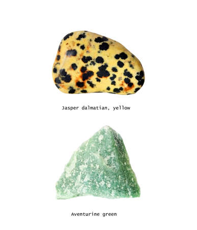 Minerals Jasper Dalmatian Yellow and Aventurine Green, glazed and raw minerals, objects isolated.