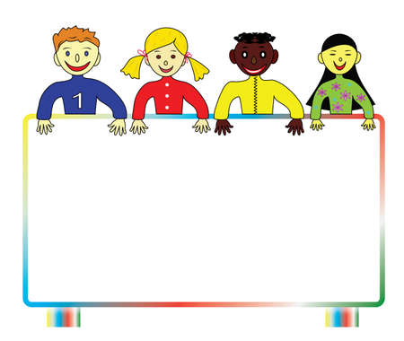 Background with colorful school children from all over the world with a billboard for your text